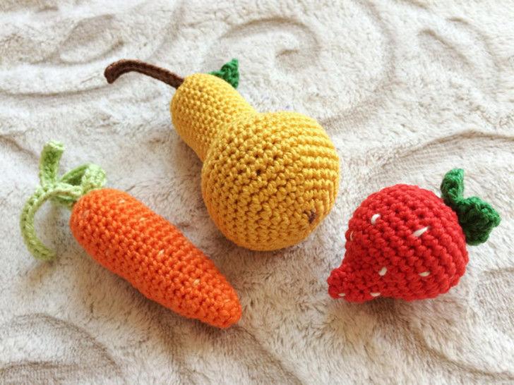 Erdbeere, Karotte und Birne Häkelanleitung - Häkelanleitungen bei Makerist sofort runterladen