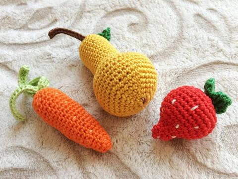 Erdbeere, Karotte und Birne Häkelanleitung bei Makerist sofort runterladen