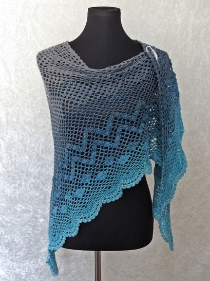 Crochet Pattern Triangle Shawl Wrap Dance With Dolphins