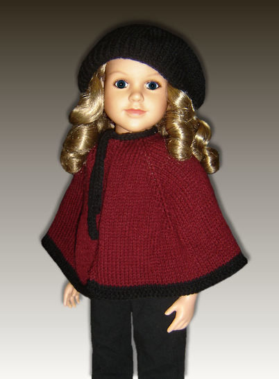 "Download Cape and Beret, 23"" dolls - Knitting Patterns immediately at Makerist"