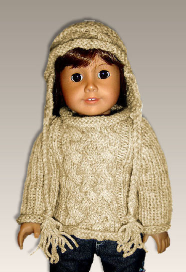 """Download Aran Cable Sweater, 18"""" doll - Knitting Patterns immediately at Makerist"""