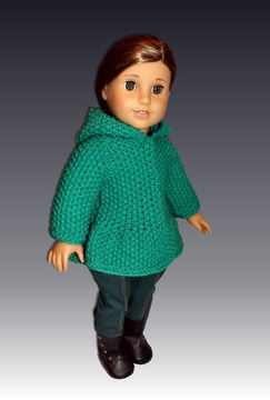 "Download Hooded Seedstitch Jacket. 18"" Doll. - Knitting Patterns immediately at Makerist"