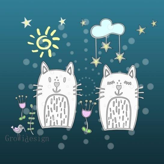 Applikationsvorlage Tag & Nacht Katze inkl. Mini-Lizenz - Nähanleitungen bei Makerist sofort runterladen