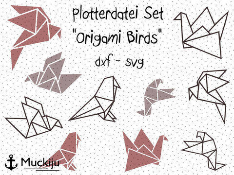 "Plotterdatei ""Origami Birds"" Set bei Makerist sofort runterladen"