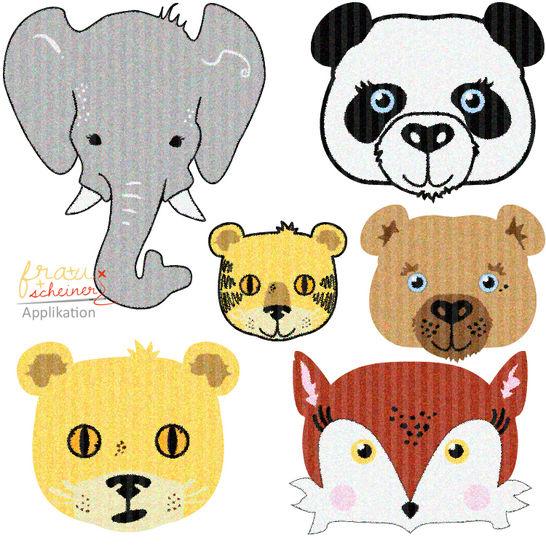 Applikationsvorlage: Fuchs, Bär, Panda, Elefant, Tiger und Löwe - Nähanleitungen bei Makerist sofort runterladen