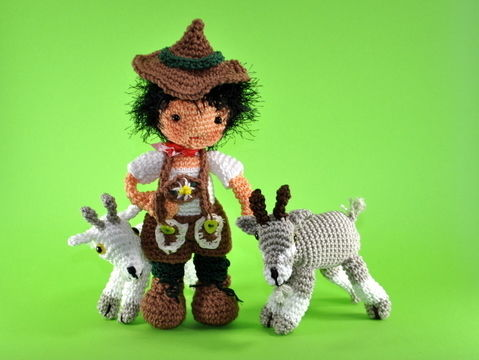 Download doll Peter (from Heidi)with goats crochet pattern - Crochet Patterns immediately at Makerist