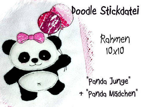 Stickdatei Panda Balloon 10x10 Doodle bei Makerist sofort runterladen