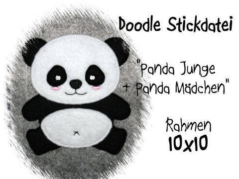 Stickdatei Panda sitzend 10x10 Doodle bei Makerist sofort runterladen