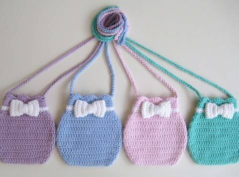 Download Crochet bag, Bow bag, Pattern No16, in both UK and US crochet terms immediately at Makerist
