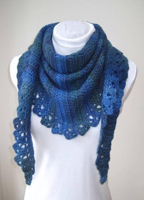 Download Crochet Scarf Mittens, Blue Wrap, Fingerless mitts, Pattern No23, in both UK and US crochet terms immediately at Makerist