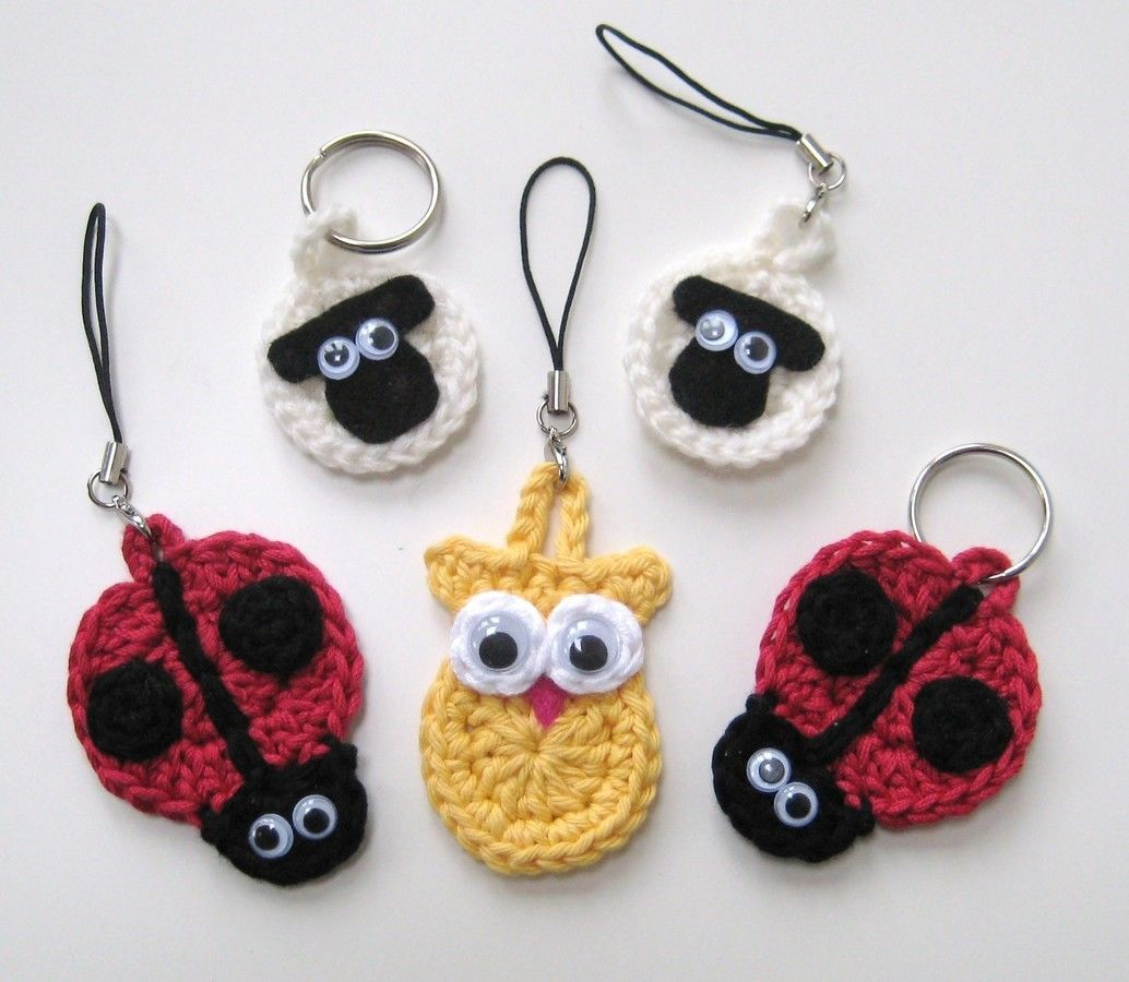 Crochet Animal Keychains, keyrings, sheep ladybird owl, Pattern No7 ...