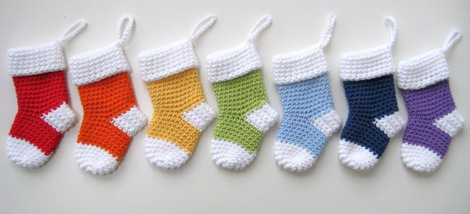 Crochet Xmas Mini Stockings Santa Socks Christmas Pattern No25