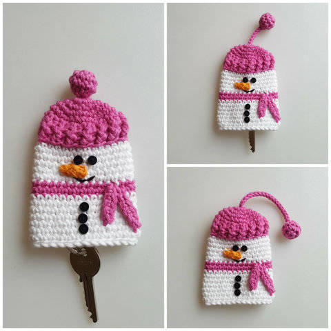 Download Crochet Snowman Keycosy, Keycozy, Keycover, Pattern No26, in both UK and US crochet terms immediately at Makerist