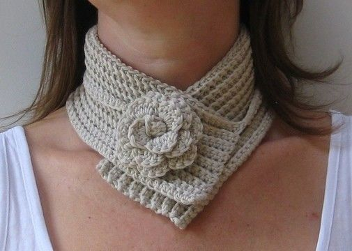 Download Crochet scarf, Flower neckwrap, Pattern No11, in both UK and US crochet terms - Crochet Patterns immediately at Makerist