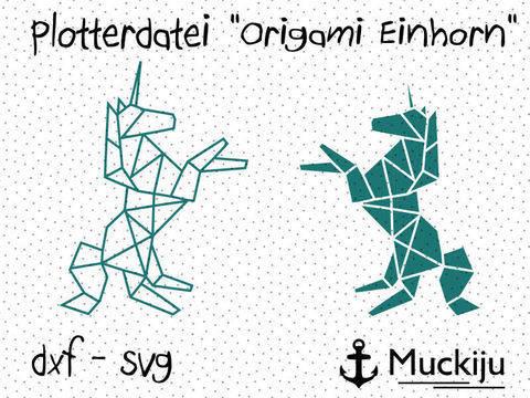 """Plotterdatei """"Origami Einhorn"""" bei Makerist sofort runterladen"""