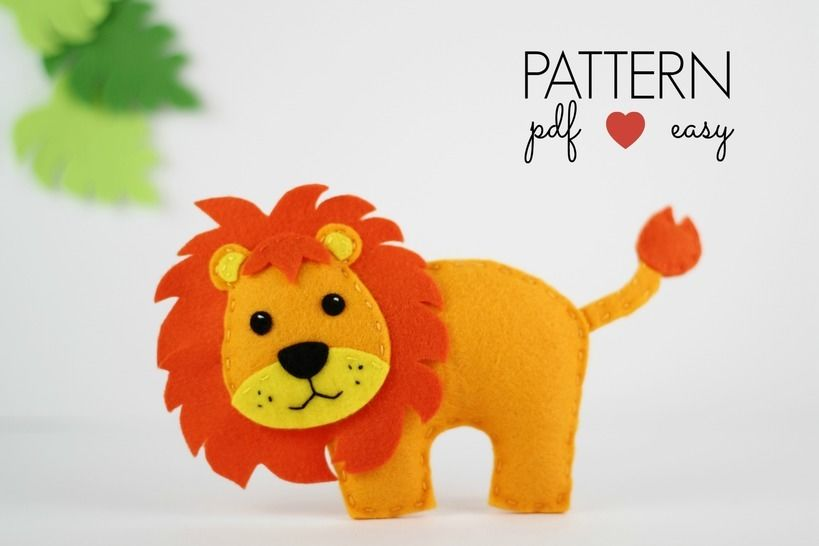 Download Felt Lion Pattern - Lion Sewing Pattern  - Sewing Patterns immediately at Makerist