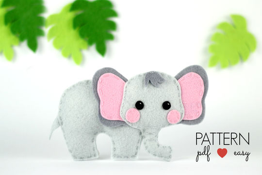 Download Felt Elephant Pattern - Elephant Sewing Pattern  - Sewing Patterns immediately at Makerist