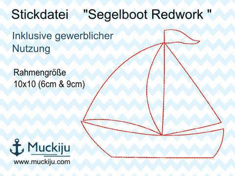Stickdatei Segelboot 10x10 Redwork bei Makerist sofort runterladen