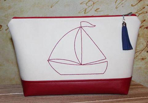 Stickdatei 18x30 Segelboot Redwork bei Makerist sofort runterladen