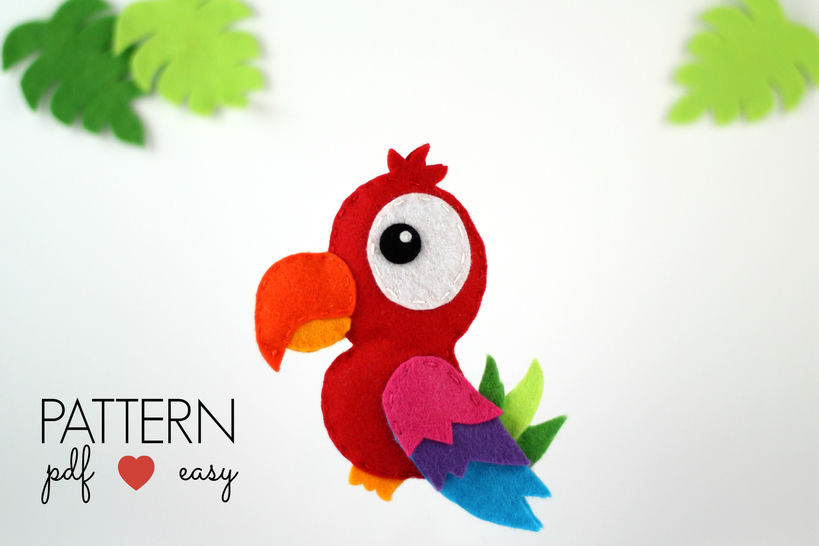 Download Felt Parrot Pattern - Parrot Sewing Pattern - Felt Bird Pattern - Sewing Patterns immediately at Makerist