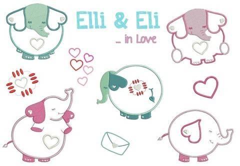 Stickdatei Elli & Eli in Love in PES bei Makerist sofort runterladen