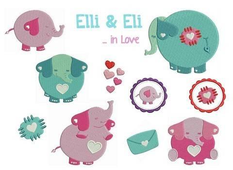Stickdatei Elli & Eli in Love Füllstich in PES bei Makerist sofort runterladen