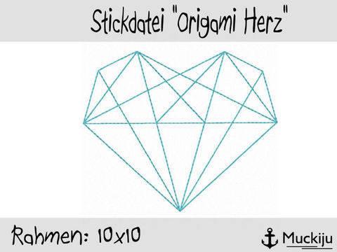 Stickdatei 10x10 Origami Herz Redwork bei Makerist sofort runterladen