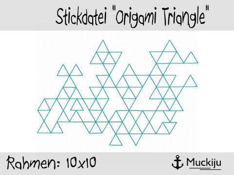 Stickdatei 10x10 Origami Triangle Redwork bei Makerist sofort runterladen