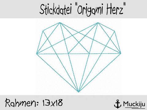 Stickdatei 13x18 Origami Herz Redwork bei Makerist sofort runterladen