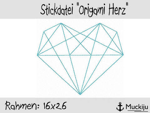 Stickdatei 16x26 Origami Herz Redwork bei Makerist sofort runterladen