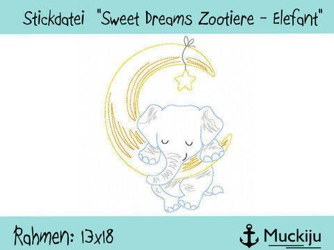 """Stickdatei 13x18 """"Elefant - Sweet Dreams Zootiere"""" Redwork bei Makerist sofort runterladen"""