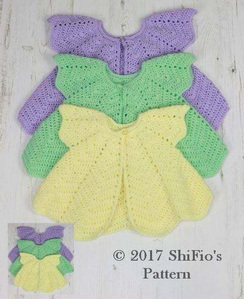 Download CP368 CROCHET PATTERN For Rippled Angel Top in 3 Sizes, 6 months to 4 years, Girls, Baby, Summer U.K, U.S.A  PDF 368 immediately at Makerist