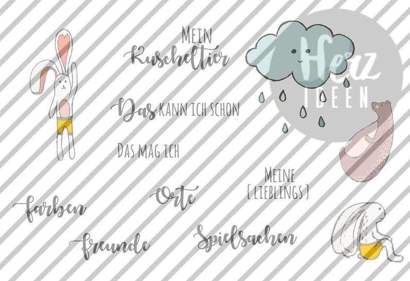 """Plotterdatei """"Mein erstes Fotoalbum / Das bin ich"""" DXF SVG PNG inkl Schnittmuster + Print and Cut Grafiken liebevoll illustriert von Julia Dreams - Plotterdateien bei Makerist sofort runterladen"""