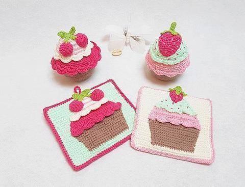 GRATIS- Häkelanleitung Cupcake Set bei Makerist sofort runterladen