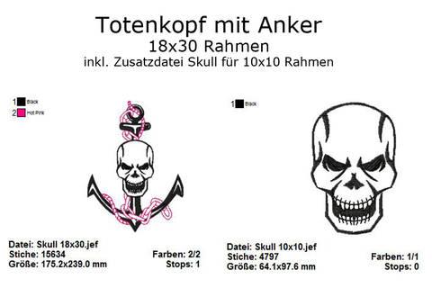 Stickdatei Skull mit Anker Totenkopf Rahmen 18x30 bei Makerist sofort runterladen