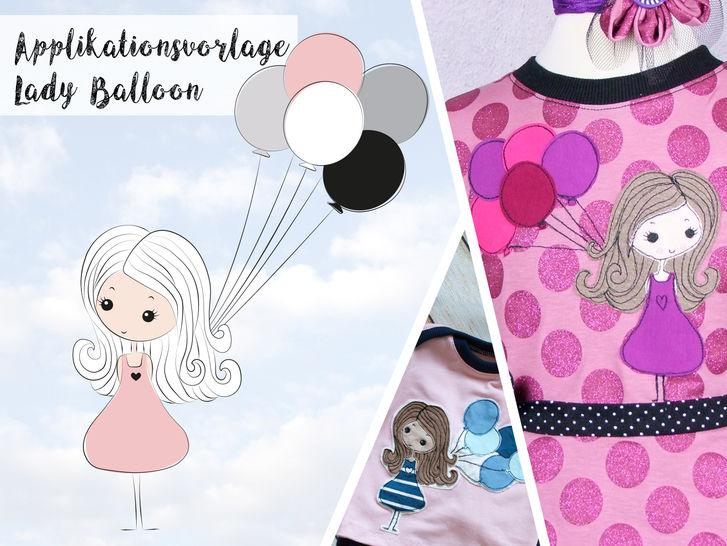 Applikationsvorlage Lady Balloon - Nähanleitungen bei Makerist sofort runterladen