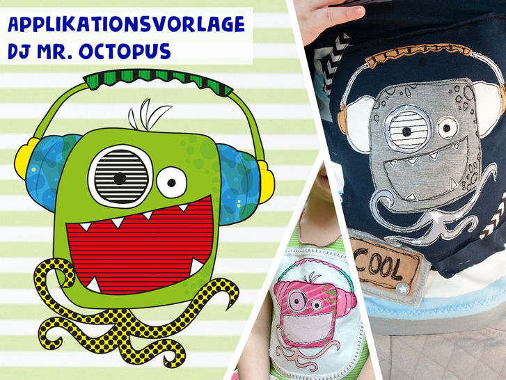 Applikationsvorlage DJ Mr. Octopus - Nähanleitungen bei Makerist sofort runterladen