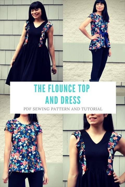 Download The Flounce Top and Dress PDF sewing pattern:  The files include a step by step sewing tutorial and patterns available in sizes 4 to 22 The Flounce Top and Dress PDF sewing pattern:  The files include a step by step sewing tutorial and patterns available in sizes 4 to 22 The Flounce Top and Dress PDF sewing pattern:  The files include a step by step sewing tutorial and patterns available in sizes 4 to 22 The Flounce Top and Dress PDF sewing pattern:  The files include a step by step sewing tutorial and patterns available in sizes 4 to 22 The Flounce Top and Dress PDF sewing pattern:  The files include a step by step sewing tutorial and patterns available in sizes 4 to 22 🔎zoom Item details 5 out of 5 stars.      (56) reviews Shop policies THE PATTERN FEATURES:  TWO different patterns:  DRESS: WITH 5 NECKLINE VARIATIONS (FRONT AND BACK) FOUR SKIRT STYLES OPTIONAL FRONT FLOUNCE THREE DIFFERENT SLEEVE STYLES ( SLEEVELESS, SHORT AND LONG) 2. TOP:  WITH 5 NECKLINE VARIATIONS THREE DIFFERENT SLEEVE STYLES OPTIONAL FRONT FLOUNCE AND WAIST STRAPS  FABRIC RECOMMENDED:  This pattern works well with a stable knit fabric or stretch woven for the dress option and knit or woven fabric for the top option.   SIZES: From 4 to 22  PLEASE NOTICE THAT THE FINISHED GARMENTS HAVE 4 INCHES OF EASE (DRESS) AND 6 INCHES OF EASE (TOP)  FABRIC REQUIREMENT:  2 3/4 yards to 3 3/4 yards FABRIC (DEPENDING ON THE CHOSEN PATTERN)  NOTIONS NEEDED:  coordinating cotton or polyester thread  7 '' ZIPPER (optional)  THE FILE CONTAINS:  A PDF downloadable pattern for A4 and Letter page format A fully illustrated, easy to follow tutorial with all the information required to create this pattern This pattern is delivered by email. You will receive a PDF file containing the files:  Fully graded PDF Patterns available in sizes from 4 to 22 for the TOP and DRESS  Step by step illustrated Sewing Tutorial and printing instructions: 27 pages Meet the owner of DGPATTERNS Learn more about the shop and process  Daniela Gutierrez-Diaz The Flounce Top and Dress PDF sewing pattern: The files include a step by step sewing tutorial and patterns available in sizes 4 to 22 immediately at Makerist