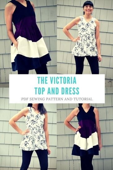 Download the Victoria Top and Dress Pattern and Tutorial: PDF printable sewing pattern and tutorial including sizes 4 to 22  - Sewing Patterns immediately at Makerist