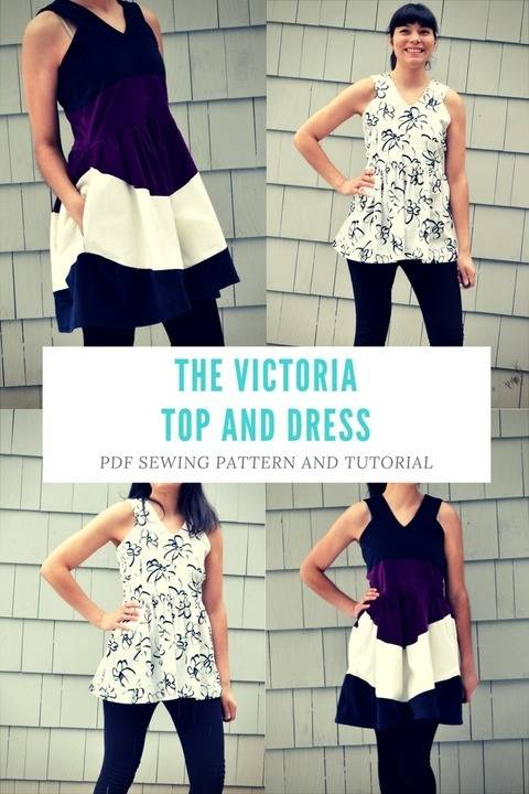 Download the Victoria Top and Dress Pattern and Tutorial: PDF printable sewing pattern and tutorial including sizes 4 to 22  immediately at Makerist