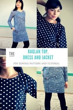 Download Loose fit Raglan, Dress and Jacket: Printable PDF Sewing Pattern in sizes 4 to 22, including an illustrated sewing tutorial  - Sewing Patterns immediately at Makerist