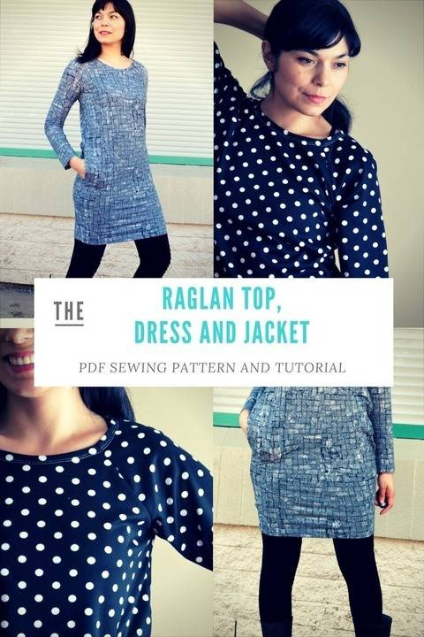 Download Loose fit Raglan, Dress and Jacket: Printable PDF Sewing Pattern in sizes 4 to 22, including an illustrated sewing tutorial  immediately at Makerist