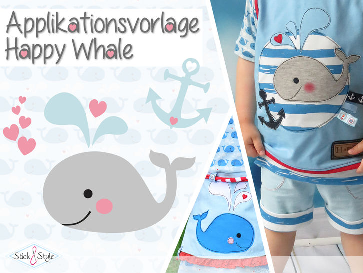 Applikationsvorlage Happy Whale - Nähanleitungen bei Makerist sofort runterladen