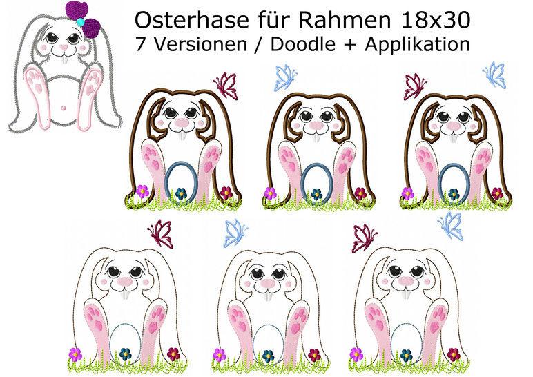 Stickdatei Hase Osterhase Applikation Doodle Rahmen 18x30