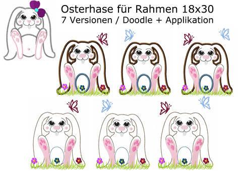 Stickdatei Hase Osterhase Applikation + Doodle Rahmen 18x30 bei Makerist sofort runterladen