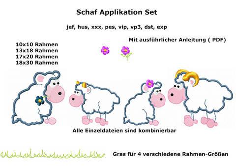 Stickdatei Schafe Applikation 18 teilig Rahmen 10x10 / 13x18 und 17x20 bei Makerist sofort runterladen