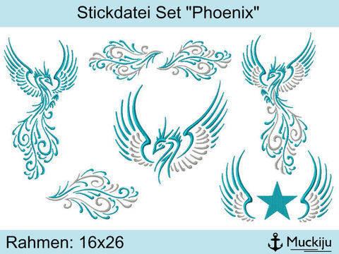 """Stickdatei Set 16x26 """"Phoenix""""  bei Makerist sofort runterladen"""