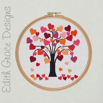 Download Embroidery Design - Folk Art Love Heart Tree - Embroidery Patterns immediately at Makerist