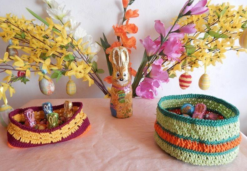 Häkelanleitung dekorative Osterkörbchen - Häkelanleitungen bei Makerist sofort runterladen