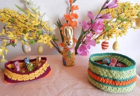 Häkelanleitung dekorative Osterkörbchen bei Makerist sofort runterladen